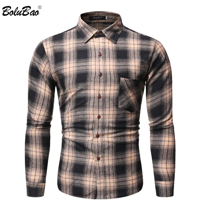 BOLUBAO Men Casual Plaid Shirts Fashion Brand Men's Long Sleeve Shirts Autumn New Male Comfortable Slim Fit Wild Shirt Tops