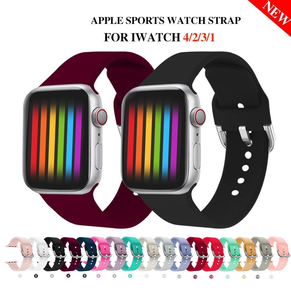 Bande de Sport de remplacement en Silicone souple pour 38mm Apple Watch Series1 2 42mm Bracelet Bracelet pour iWatch Sports édition MU SEN