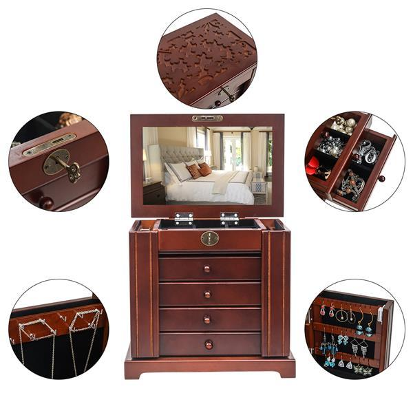 Large Jewelry Organizer Wooden Storage Box 5 Layers Case with 4 Drawers Brown