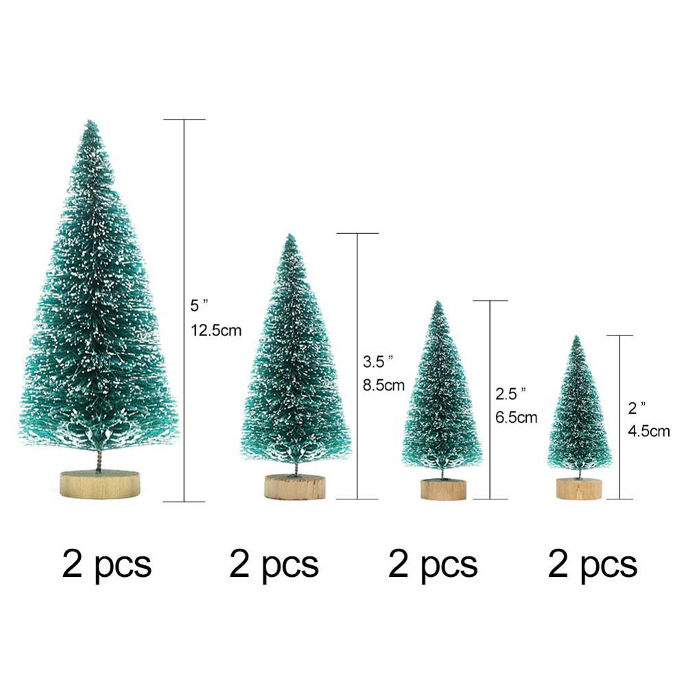 OurWarm 8 шт. Маленькая DIY Рождественская елка искусственная сосна дерево мини щетка для бутылок из сизаля Рождественская елка Санта, снег, мороз деревенский дом - Цвет: C
