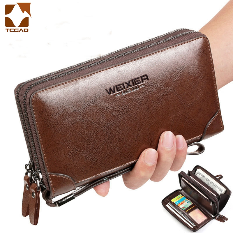 Men's Wallets For Made Of Natural Wax Oil Skin 2020 Dual Zipper Multiple Compartment Passport Cover Clutch Bag Male Phone Wallet
