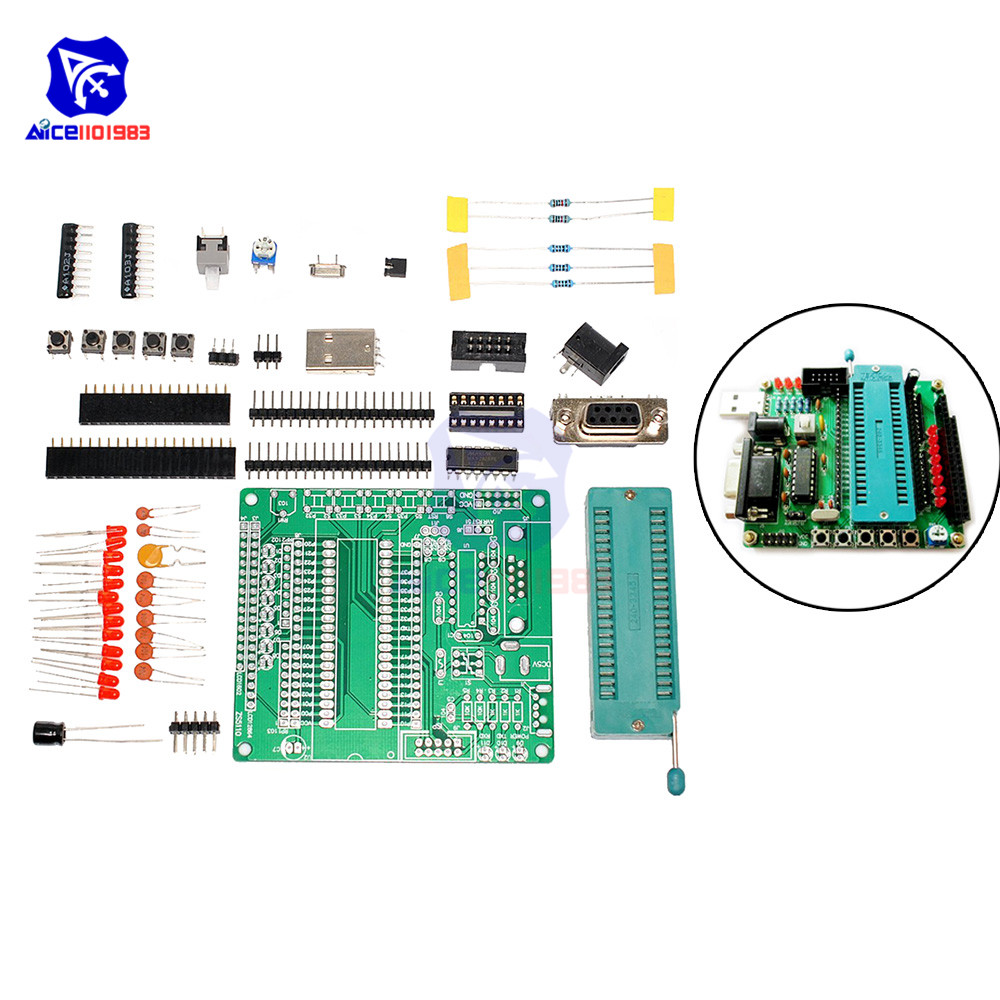 Diymore C51 AVR MCU Development Board DIY Kit Learning Board Components Self-recovery Fuse 51 Series Microcontroller ATmega16