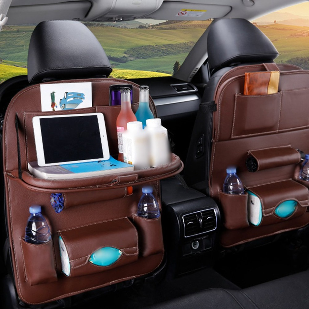 PU Leather Car Seat Back Organiser with Foldable Tray 2
