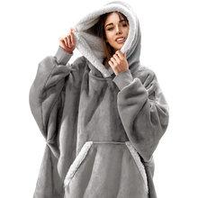Женская толстовка с капюшоном зимнее Флисовое одеяло рукавами