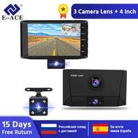 E-ACE B13 Auto Dvr 4,0 Inch Dash Cam 3 Kameras Objektiv Auto Kanzler FHD 1080P Video Recorder Dual Objektiv DVRs nachtsicht Dashcam