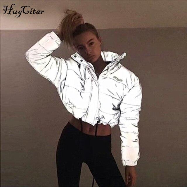 Hugcitar veste épaisse à manches longues, poche fermeture éclair réfléchissante, coton, matelassée, parka nouvelle mode automne hiver 2018