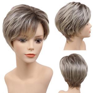 Amir Short Blonde Wig Light Brown Bob Wigs For Beautiful Women Perruque Heat Resistant Fiber Daily False Hair Straight Wigs