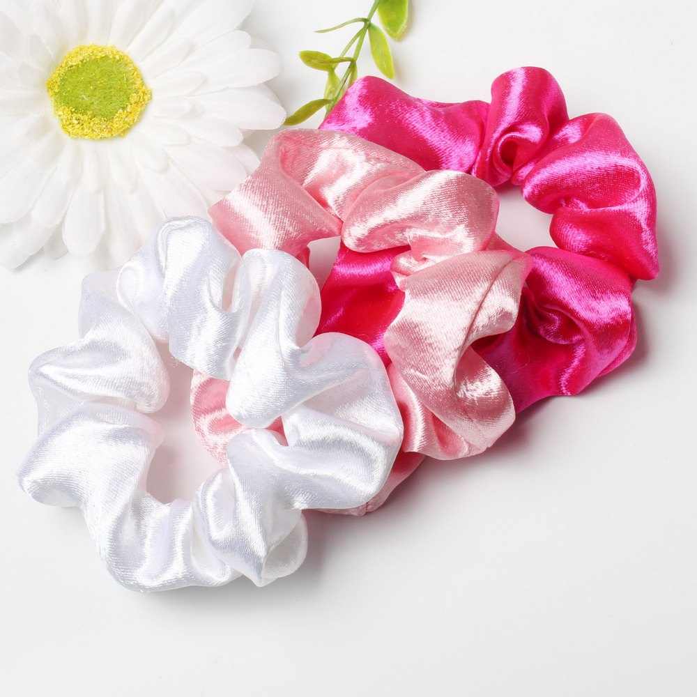 3PCS Satin Hair Scrunchies Hair Tie For Women Girls Solid Color Scrunchies Elastic Hair Bands Hair Accessories Ponytail Holder