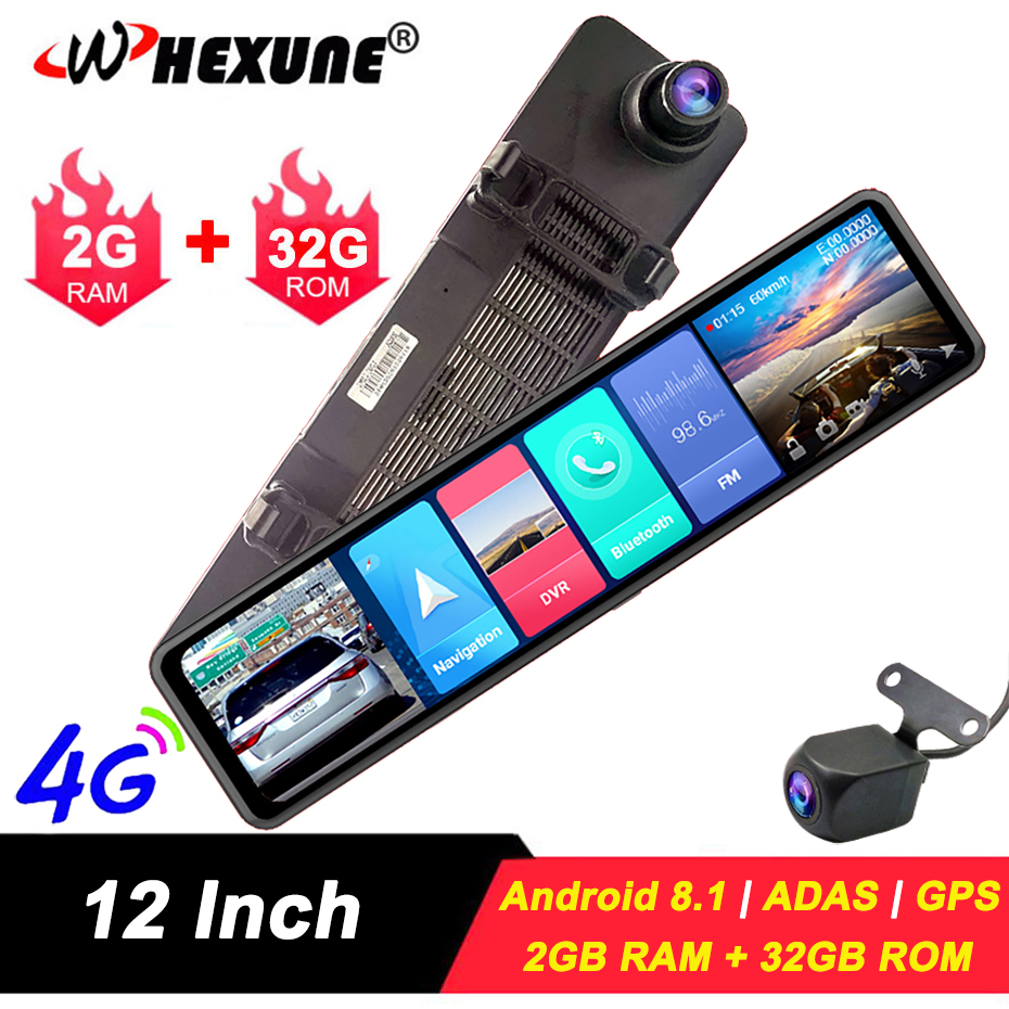 "WHEXUNE 4G Car DVR 12"" Android 8.1 RearView Mirror FHD 1080P ADAS Dash Cam Camera Video Recorder Auto Registrar Dashcam GPS DVRS"