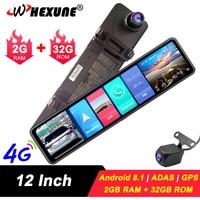 WHEXUNE 4G Car DVR 12 Android 8.1 RearView Mirror FHD 1080P ADAS Dash Cam Camera Video Recorder Auto Registrar Dashcam GPS DVRS