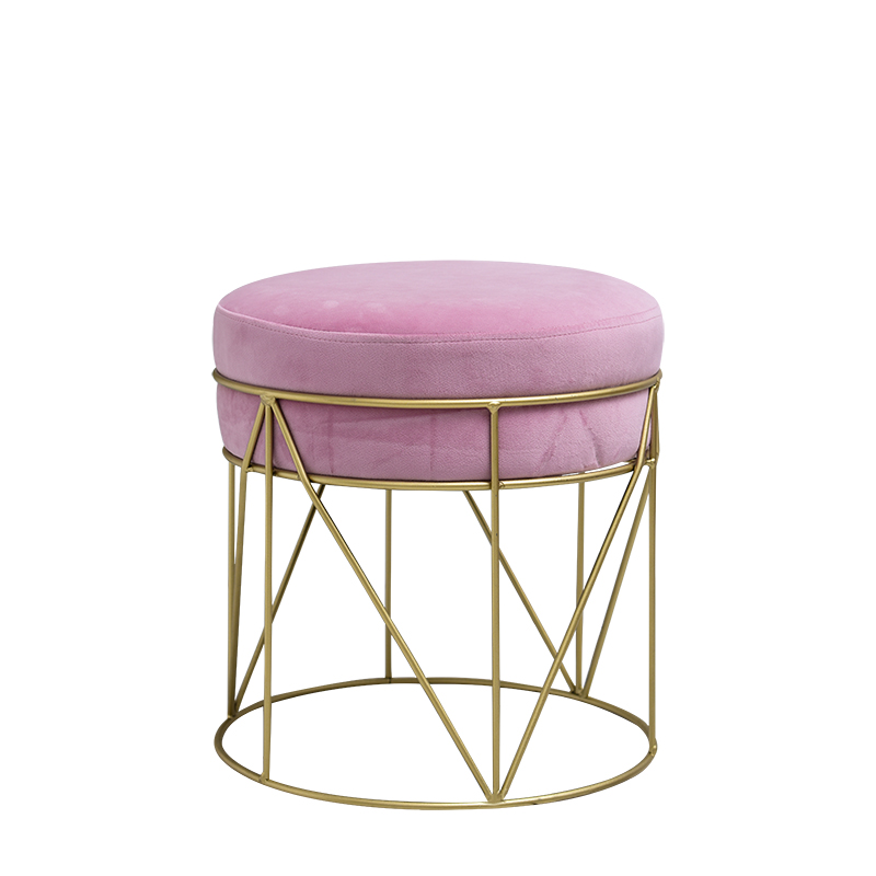 Nordic Metal Ottoman Modern Fashion Bedroom Make Up Stool Velet Change Shoes Ottoman Heavy Bearing  Home Furniture