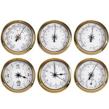 New 1pcs Brass Case Weather Station Barometer Temperature Hygrometer Clock and Clock Tid 145mm 1-6 model to choose B91456 цена 2017