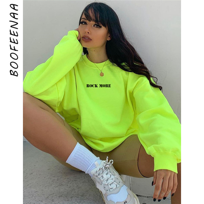 BOOFEENAA Casual Oversized Hoodie Neon Green Letter Print Hip Hop Streetwear Long Sweatshirts Women Fall Winter Tops C67-AB38