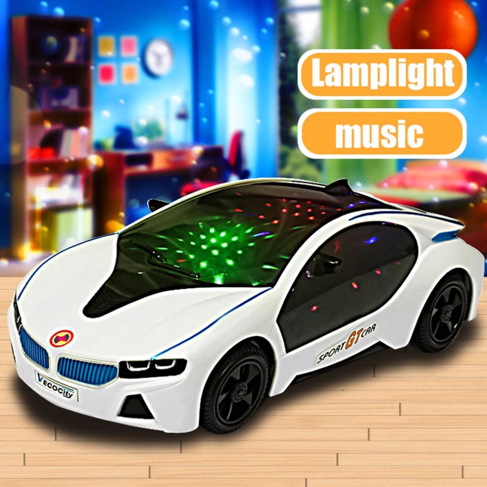 Cool Universal LED Light Music Electric Flashing Cars Toys For Children Early Educational Sound Car Toys Boys New Year Gift(China)