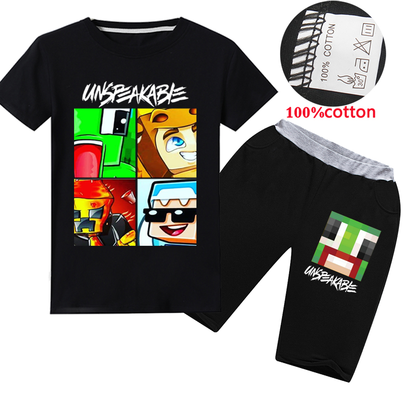 UNSPEAKABLE Children T Shirts Shorts 2pcs Sets YOUTUBER Kids T-shirts Prestonplayz Boys Short Sleeves Baby Girls Clothes Clothes image
