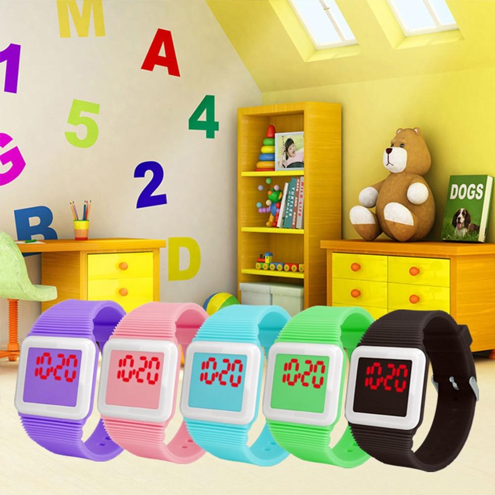Boys Girls Watch New Square Led Sports Kids Watches Silicone Watch Electronic Digital Clock Wristwatches Gifts Reloj Nino W50
