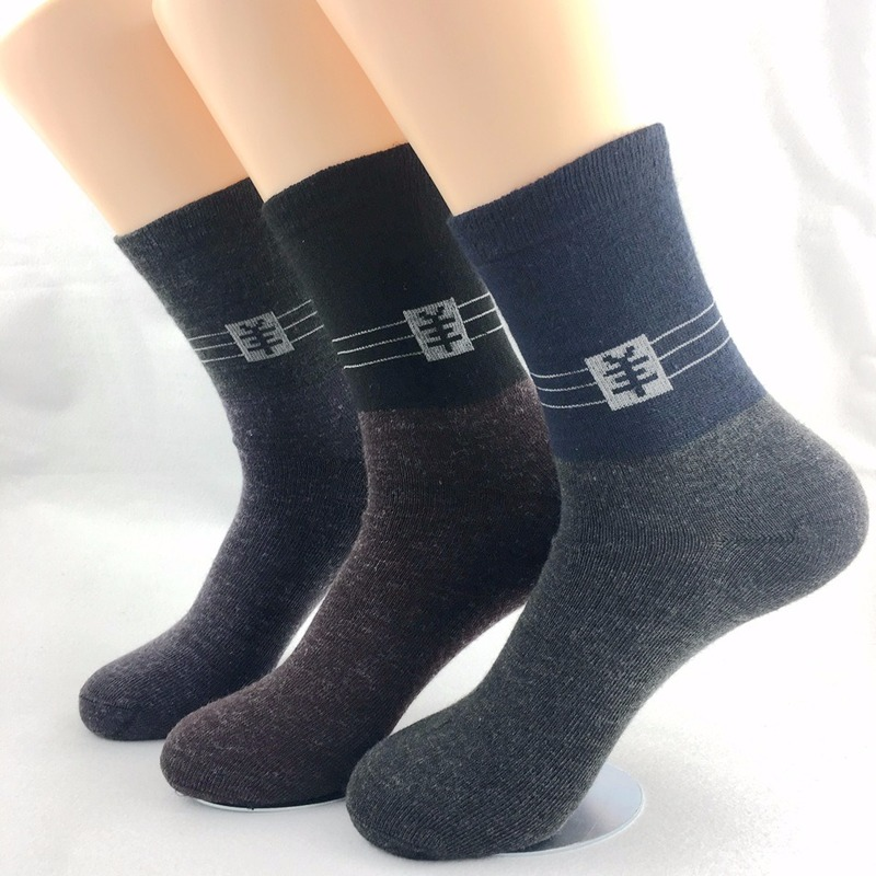 Long Sleeve Men Wool Socks Breathable Sweat-absorbent Printed Color Stitching Regular Thick Stockings Boy 2020 Spring Autumn