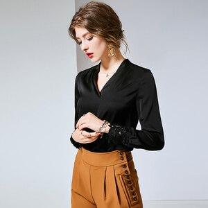 Image 5 - 2020 100% camisas de pista femininas de seda pura sexy com decote em v mangas compridas bordado elegante camisa blusa