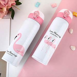 Vacuum Insulated Drink-Bottle Travel-Mugs Coffee Tea 100pcs/Lot Flamingo