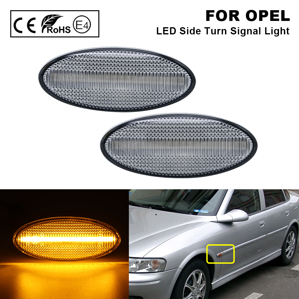 2XClear LED Side Marker Light Turn Signal Indicator Lamp For <font><b>Opel</b></font> Vauxhall <font><b>Vectra</b></font> <font><b>B</b></font> 1995 1996 1997 1998 1999 <font><b>2000</b></font> 2001 2002 2003 image