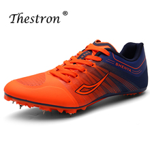 New men and women track field shoes running spikes orange green male exam training sports nail