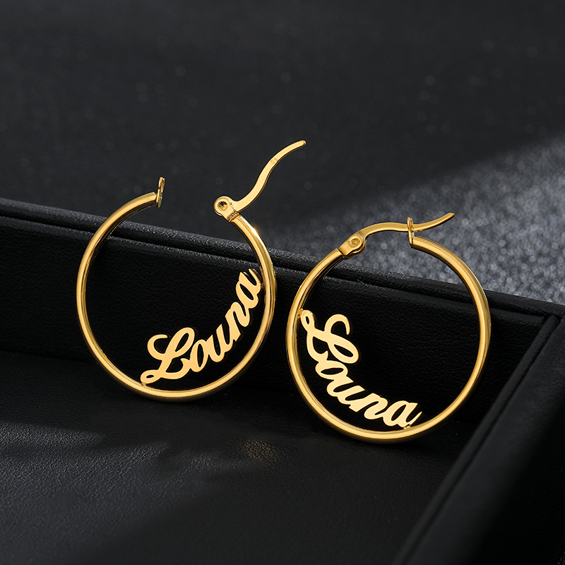 1 Pair Big Round Circle Custom Earring Personalized Stud Earrings For Women Stainless Steel Jewelry Pendientes Mujer Moda 2019