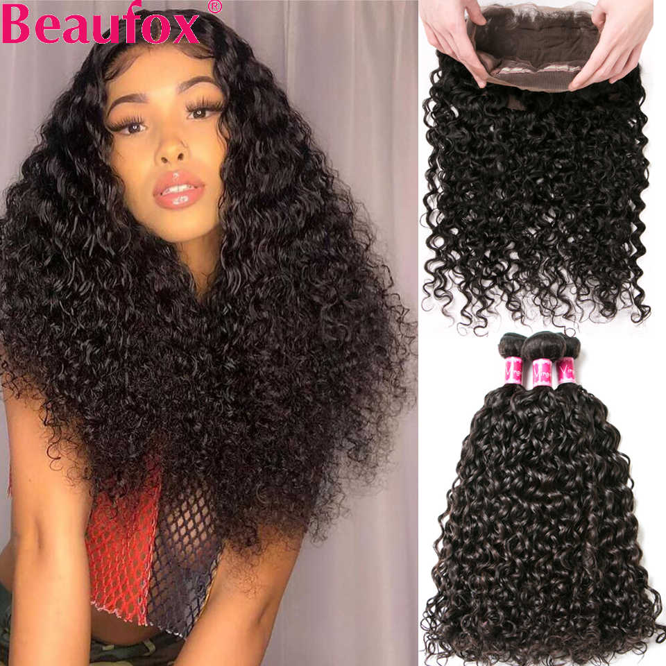 Beaufox 360 Lace Frontal Closure With Bundles Malaysian Water Wave Human Hair 3 Bundles With 360 Frontal With Bundles Remy