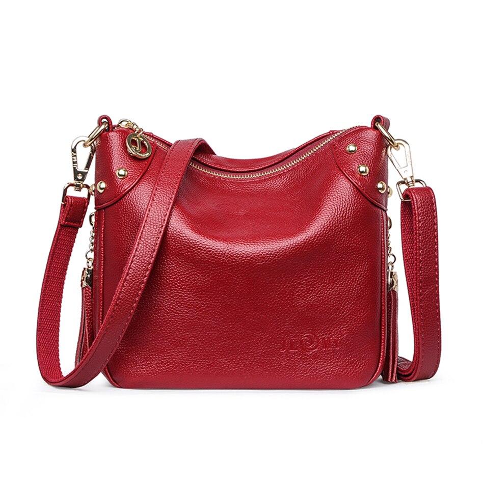 Women Genuine Leather Tassels Luxury Handbags Designer Messenger Bag Small Ladies Shoulder Hand Crossbody Bags For Women 2020