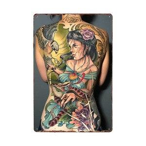 Тату для девочек, металлическая вывеска, металлическая вывеска, тату для студии, украшения стен, винтажный художественный постер 20x30cm