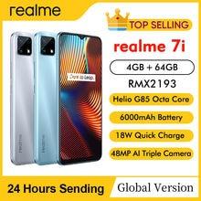 Realme 7i RMX2193 6.5 'HD + 4GB 64GB 48MP AI potrójne kamery Smartphone Helio G85 Octa Core 18W szybkie ładowanie 6000mAh telefon komórkowy