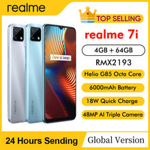 Realme 7i RMX2193 6.5 'hd + 4GB 64GB 48MP AI Triple cames Smartphone Helio G85 Octa Core 18W Charge rapide 6000mAh téléphone portable