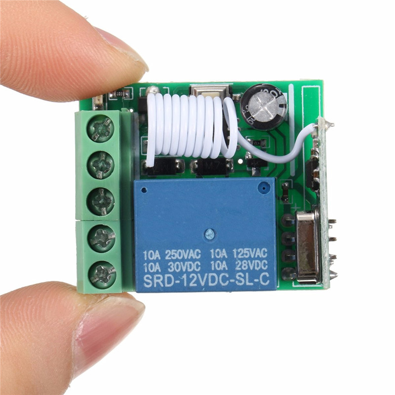 100M DC 12V 10A 1Ch Wireless Relay RF Remote Control Switch Heterodyne Receiver 315MHZ image