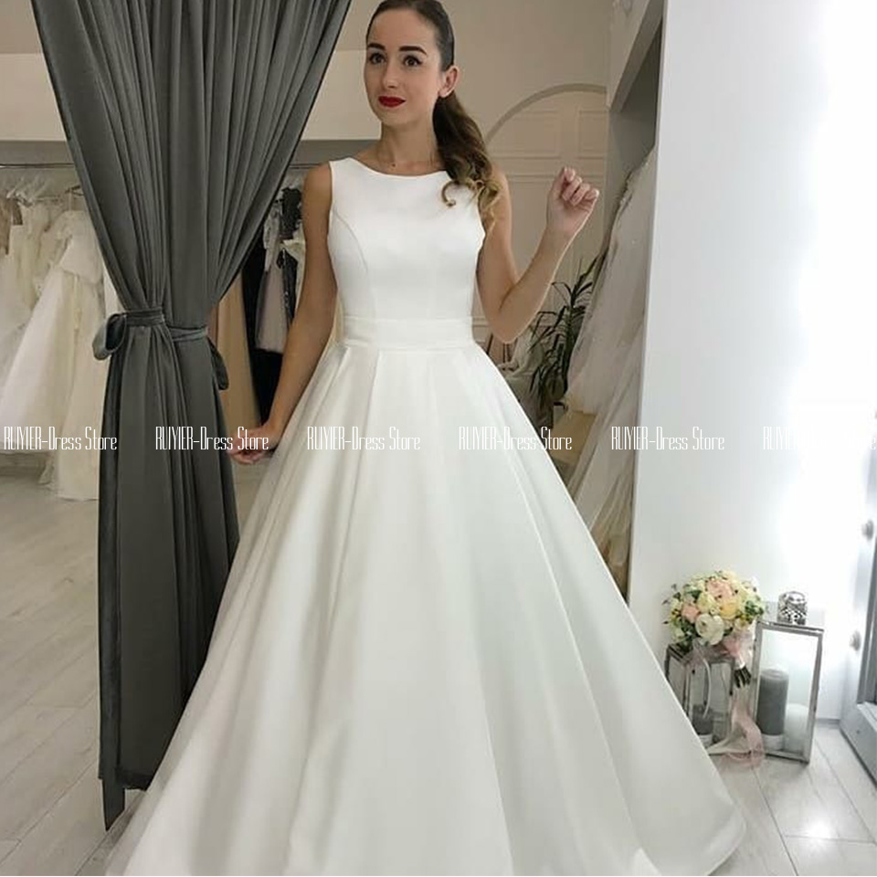 Boat Neck White Wedding Dress For Mariage Elegant Backless Bride Dress With Bow Satin A-line Vestido De Noiva