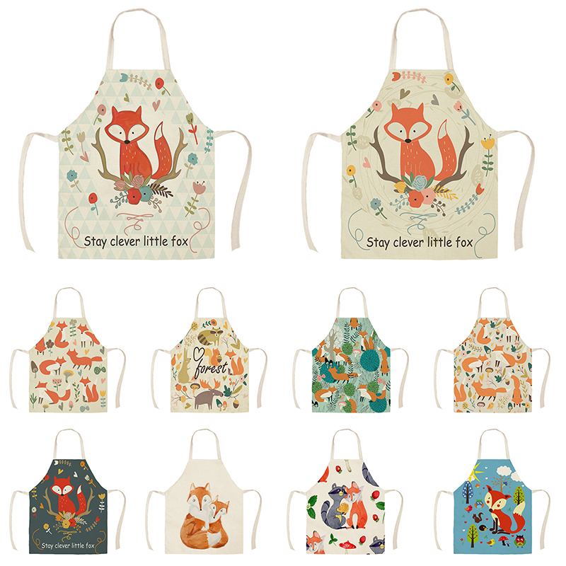 Linen Nordic Cute Fox Aprons Unisex Dinner Party Cooking Bib Funny Pinafore Cleaning Apron WQF593