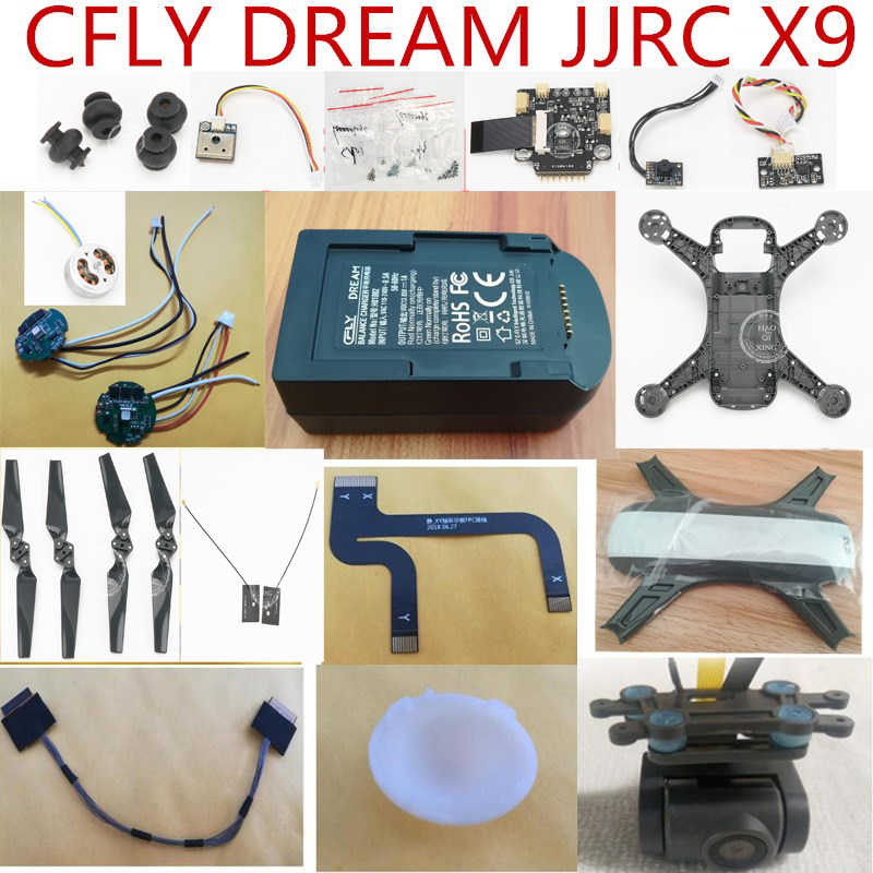 CFLY C-FLY DROOM JJRC X9 RC Quadcopter onderdelen shell blades motor ESC kompas Demping bal lampenkap PTZ camera oplader etc