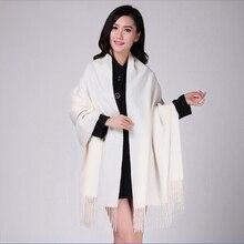 Biały 4Ply 100% wełna Solid Color damska jesień zima nowy mody grube pomponem szalik Wrap ciepłe 19 kolory 200*70cm 011502