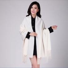 Branco 4ply 100% lã cor sólida outono inverno nova moda grossa borla xale cachecol envoltório quente 19 cores 200*70cm 011502