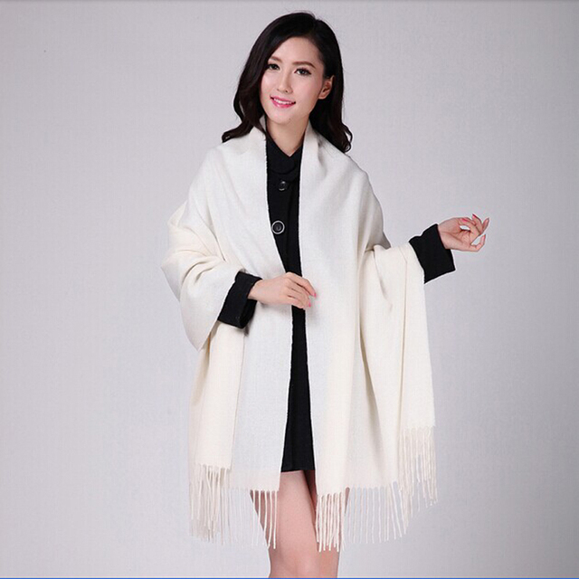 White 4Ply 100% Wool Solid Color Womens Autumn Winter New Fashion Thick Tassel Shawl Scarf Wrap Warm 19 Colors 200*70cm 011502