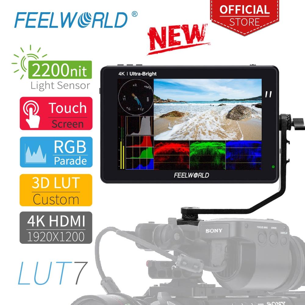 FEELWORLD LUT7 7 дюймов 3D LUT 2200 СИД сенсорный Экран DSLR Камера поле для контроля уровня сахара в крови с гистограммой вектора изображения