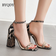 BYQDY New 2020 Ankle Strap Heels Sandals Leopard Women Summer Shoes Square Toe Chunky High Heels Dress Sandals Plus Size 41-48 2015 plus size sweety women sandals wedges high heels patent leather t strap ankle buckle strap chunky rivets decorated summer