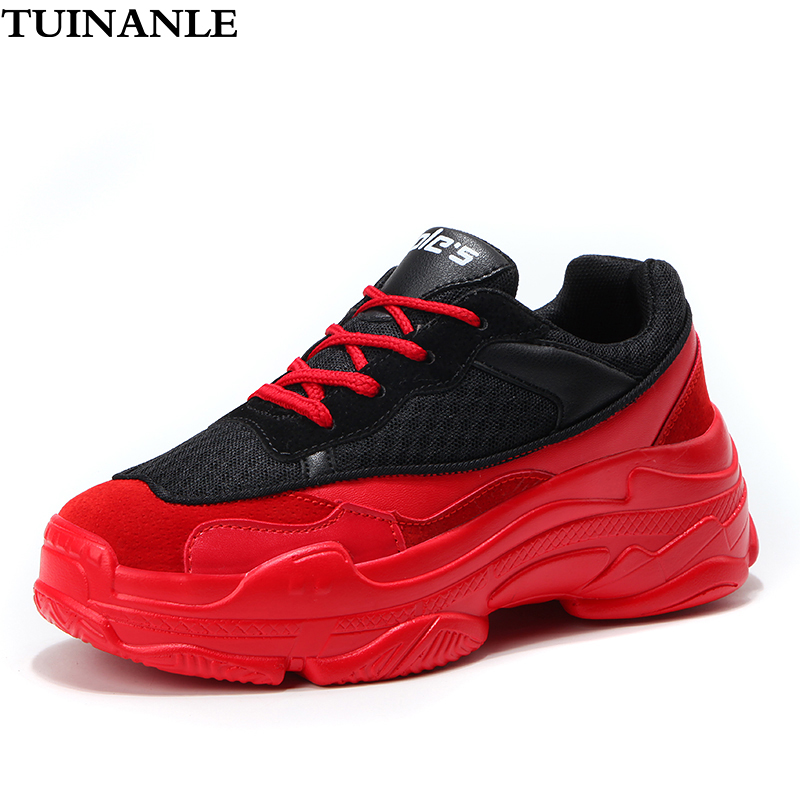 TUINANLE Fashion Sneakers Women Red Shoes 2020 Spring Autumn Breathable Mesh Women Sneakers Zapatos De Mujer Chunky Ladies Shoes