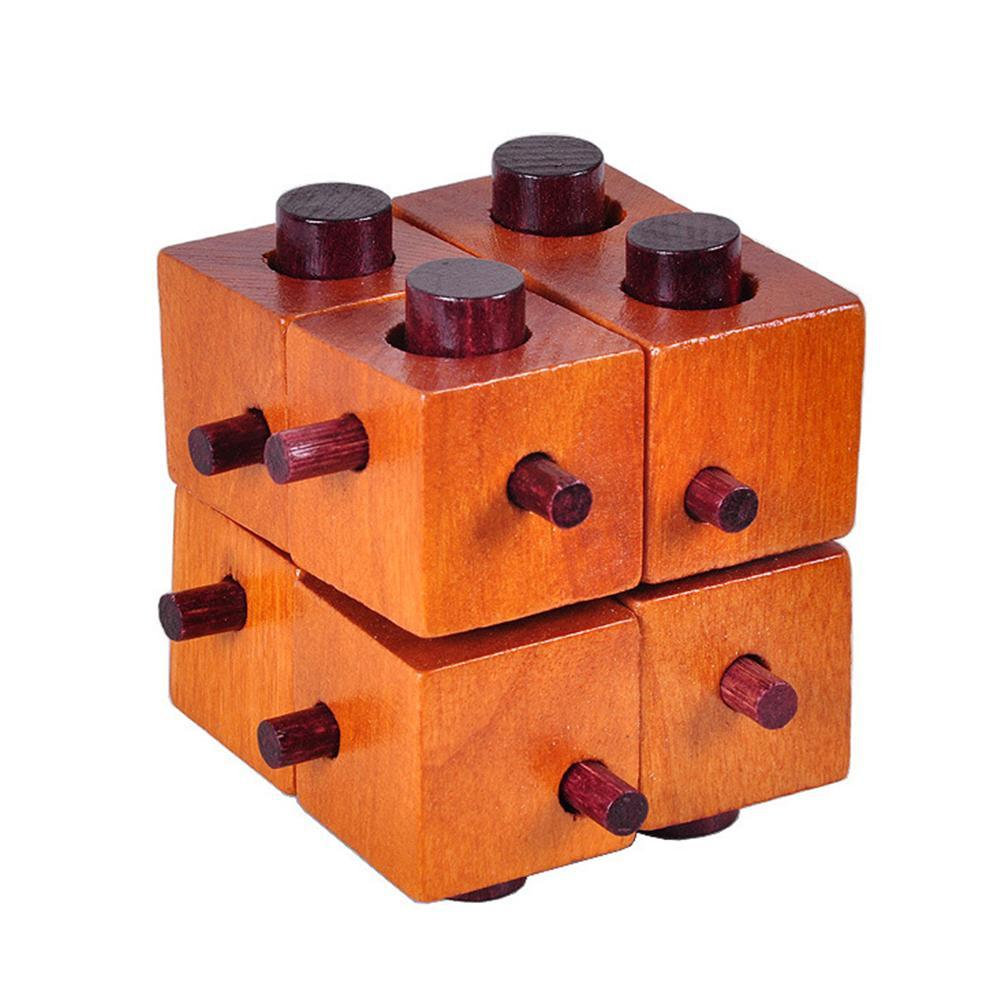 Wooden Cube 3D Beech Handmade Vintage Ming Lock Luban Lock Wooden Toys Adults Puzzle Children Educational Toys for Children Gift