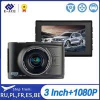 E-ACE Novatek Car Dvr Mini Camera Car Video Recorder Mirror Camcorder Dash Cam 1080P HD 3.0 Inch Dvrs Auto Carcam Registrar