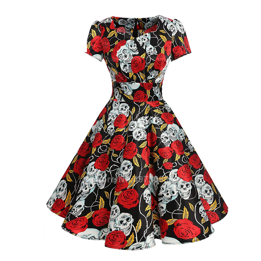 <font><b>Halloween</b></font> <font><b>Sexy</b></font> Scary Cosplay Cotume <font><b>Women</b></font> Carnival Party Day of The Dead Horror Retro Skull Print Suqare Collar Umbrella Dress image