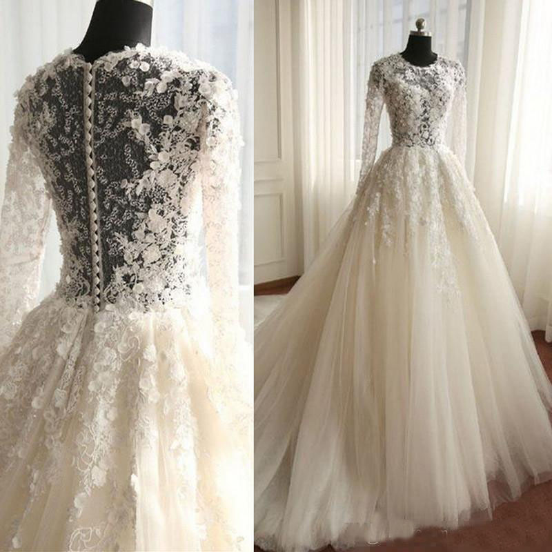 Vintage Illusion Lace Wedding Dresses Button Covered Sweep Train Spring Bridal Gowns Mariage Plus Size Garden Arabic Dresses