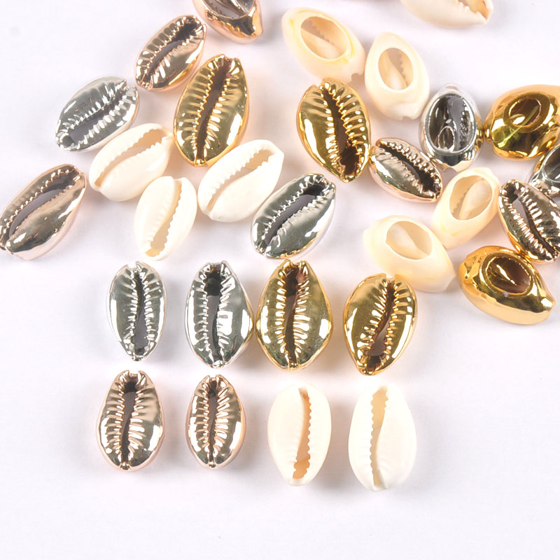 10pcs Plated Natural Shell Gold And Silver For Handmade SeaShells Home Decoration TR0297