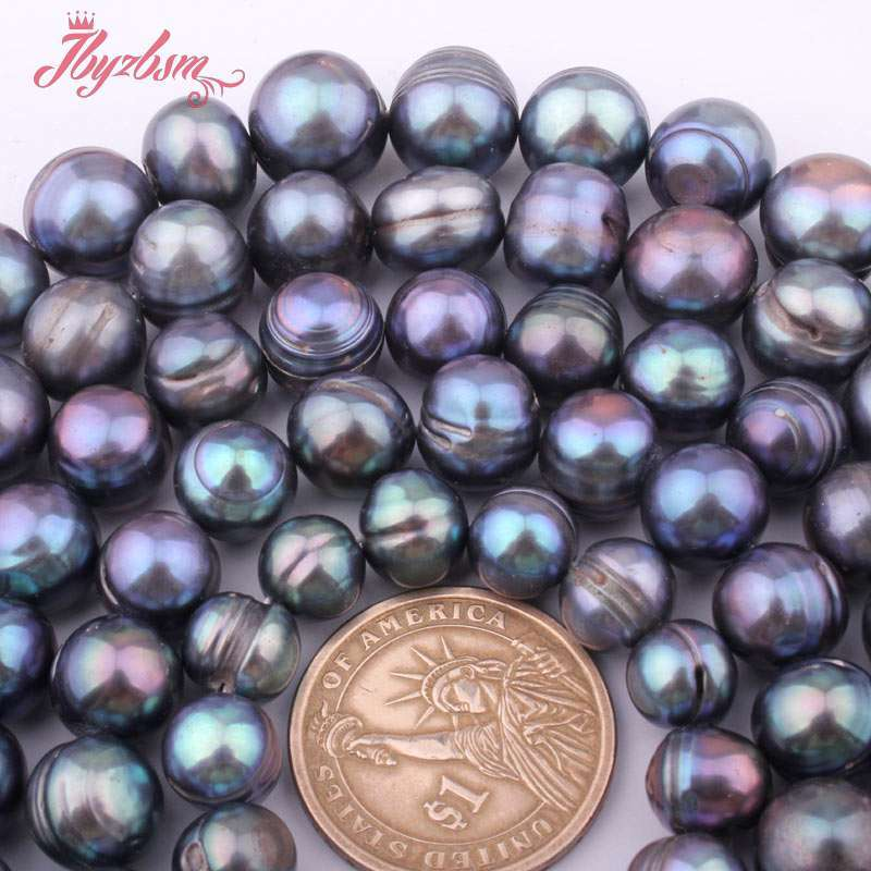 """9-10,10-12,11-14mm Dark Gray Irregular Freshwater Pearl Loose Natural Stone Beads For Necklace Jewelry Making Strand 15"""""""