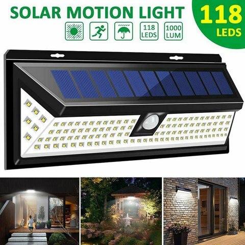 118 diodos emissores de luz de parede movido a energia solar sensor de movimento lampada