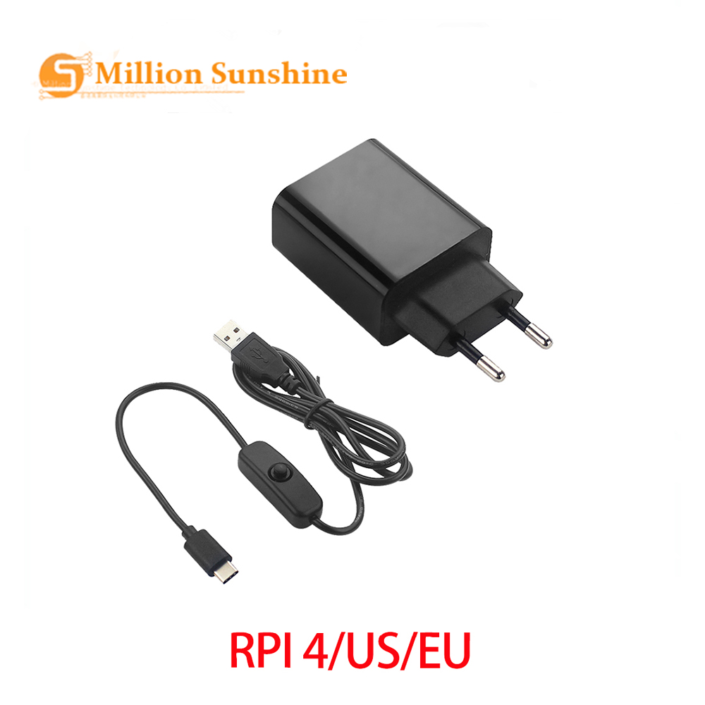 Raspberry Pi 4 B Power Adapter 5V 3A Power Supply EU US Plug 1M Switch USB Cable Power Wire Charger For Raspberry Pi 4 RPI132