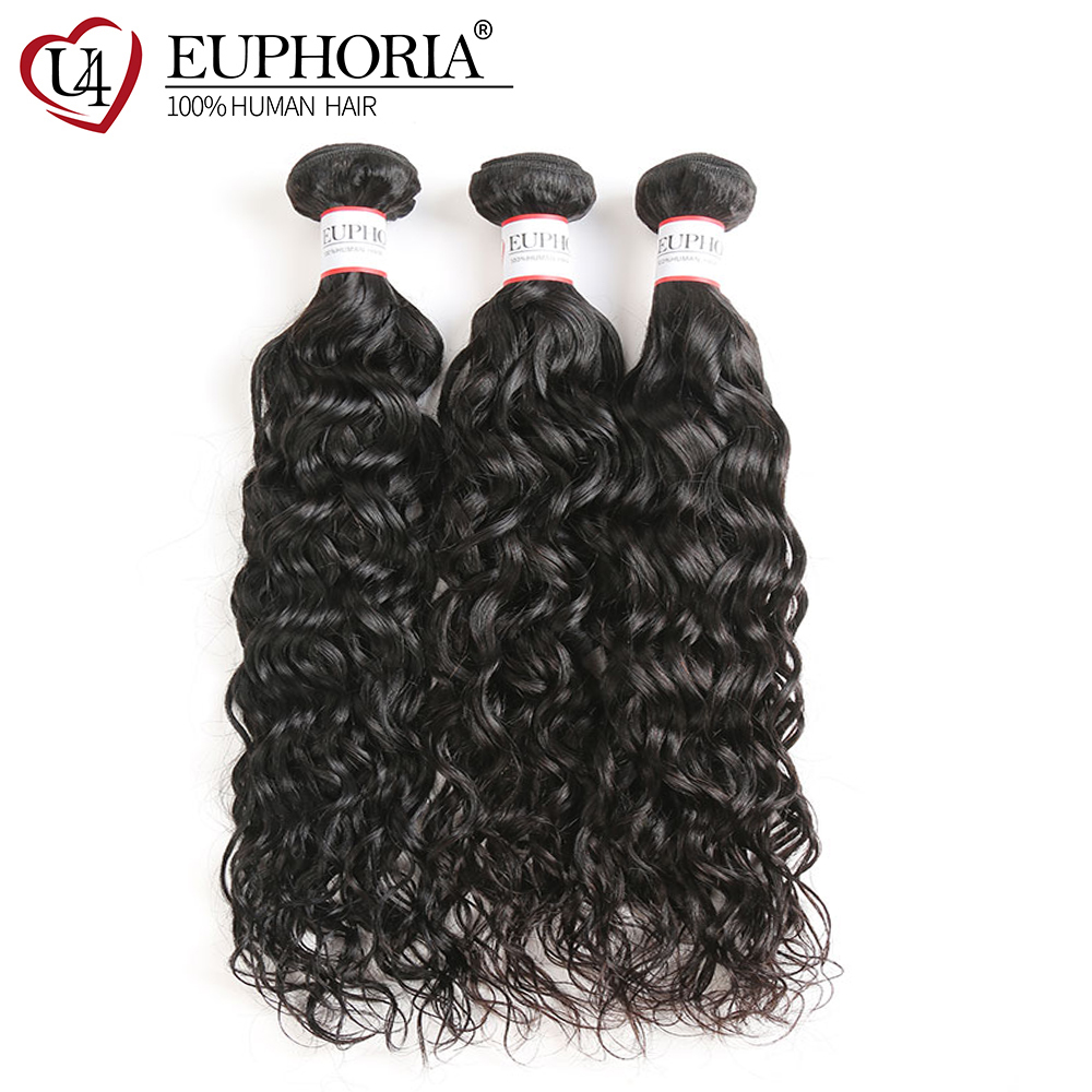 Water Wave Remy Hair Bundles Euphoria Brazilian Hair Weave Bundles 1 Piece Natural Color 100% Human Bundle Hair Weft Extensions